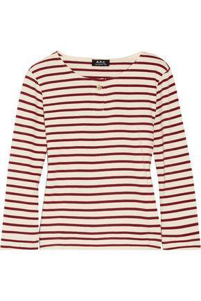 A.p.c. Woman Veronica Striped Cotton-jersey Top Burgundy