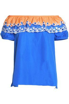 Peter Pilotto Woman Off-the-shoulder Broderie Anglaise-trimmed Cotton-poplin Top Blue