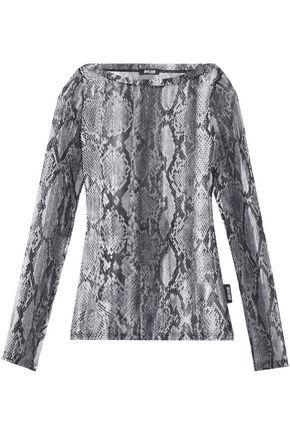 Just Cavalli Underwear Woman Snakeskin-print Stretch-knit Top Gray