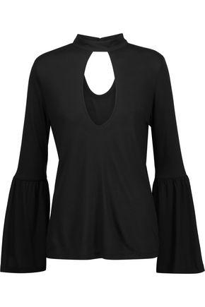 Haute Hippie Woman Gathered Cutout Modal-jersey Top Black