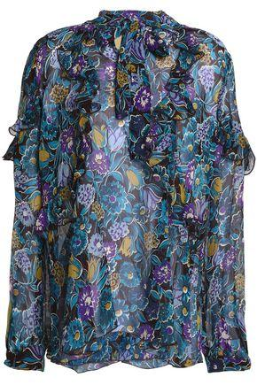 Anna Sui Woman Pussy Bow Printed Silk Top Blue