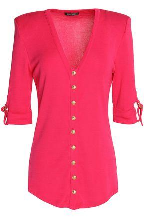 Balmain Woman Button-detailed Cotton Top Fuchsia