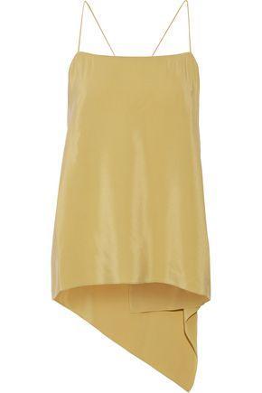 Theory Woman Asymmetric Draped Washed-silk Camisole Mustard