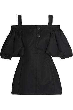 Ellery Woman Cold-shoulder Cotton-twill Top Black