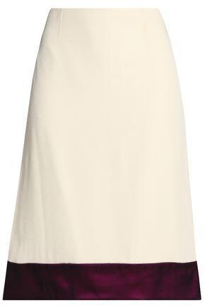 Lanvin Woman Two-tone Crepe Skirt Ivory