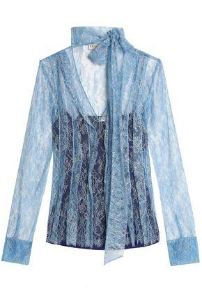 Emilio Pucci Woman Pussy-bow Lace Top Sky Blue