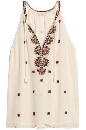 Joie Woman Eniko Embroidered Silk Crepe De Chine Top Ecru