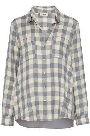 L Agence Silk Crepe De Chine-paneled Gingham Flannel Shirt In Light Gray
