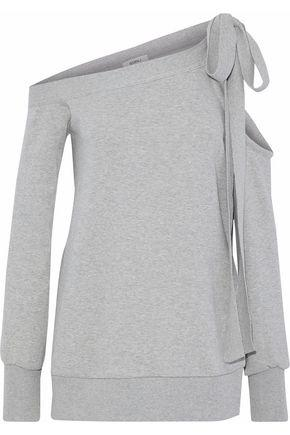 Goen J Woman Cold-shoulder MÉlange Cotton-terry Top Light Gray