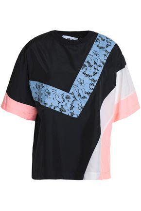 Msgm Woman Corded Lace And Shell-paneled Jersey T-shirt Black