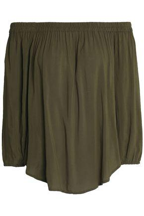 Splendid Woman Off-the-shoulder Draped Jersey Top Army Green