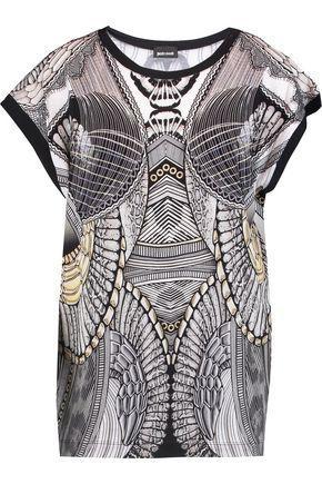 Just Cavalli Woman Printed Stretch-jersey Top Dark Gray