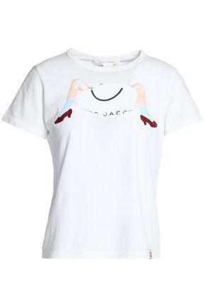 Marc Jacobs Woman Glittered Printed Cotton-jersey T-shirt White