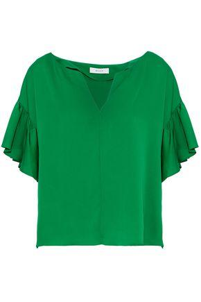 Milly Gabby Ruffled Stretch-silk Blouse In Green