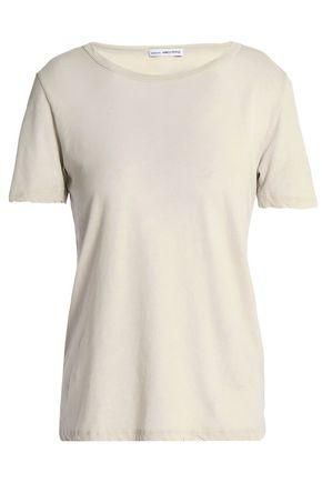James Perse Woman Printed Cotton-jersey T-shirt Ecru