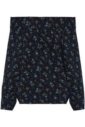 Marissa Webb Woman Off-the-shoulder Floral-print Crepe De Chine Top Midnight Blue