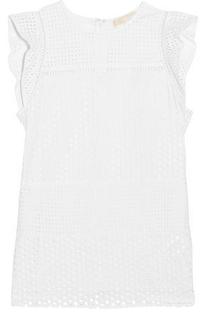 Michael Michael Kors Woman Ruffle-trimmed Broderie Anglaise Cotton Top White