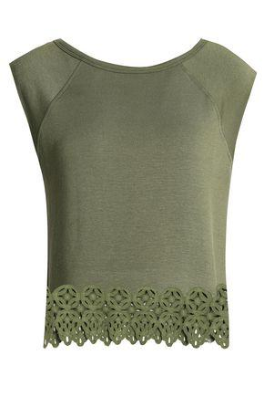 Bailey44 Guipure Lace-trimmed Stretch-modal Jersey Top In Leaf Green