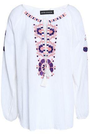 Antik Batik Woman Tasseled Embroidered Cotton-gauze Top White