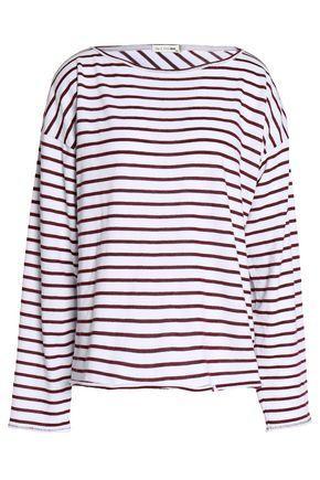Rag & Bone Striped Cotton-blend Top In Claret