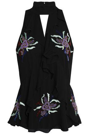 Cinq À Sept Moma Ruffle-trimmed Cutout Embellished Silk Top In Black