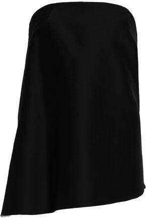 Halston Heritage Woman Strapless Draped Cotton And Silk-blend Top Black
