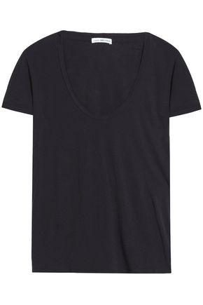 James Perse Woman Printed Cotton-jersey T-shirt Black