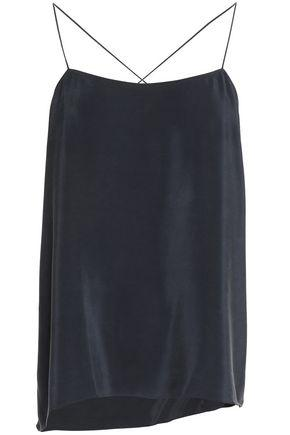 Theory Woman Vanissa Asymmetric Draped Washed-silk Camisole Midnight Blue