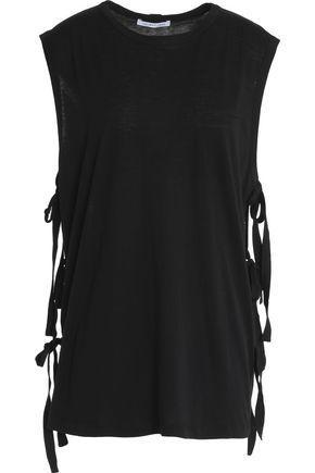 Helmut Lang Woman Strap-detailed Cotton And Cashmere-blend Slub T-shirt Black