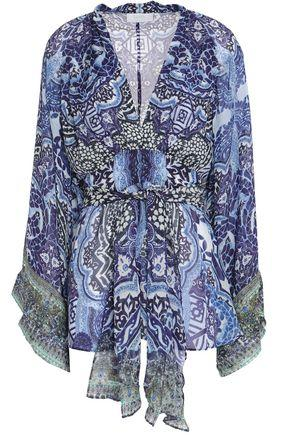 Camilla Woman Embellished Printed Silk Crepe De Chine Blouse Blue