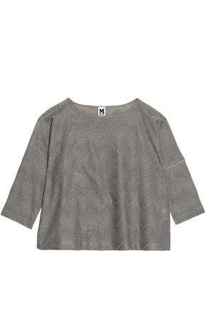 M Missoni Woman Metallic Crochet-knit Top Silver
