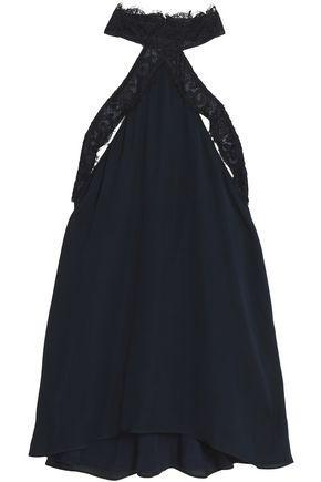 Haute Hippie Woman Lace-trimmed Cutout Silk Top Midnight Blue