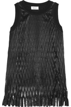 Dkny Woman Laser-cut Satin Top Black
