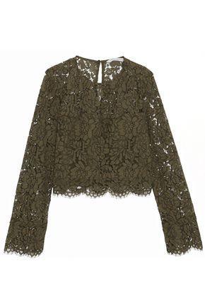 Diane Von Furstenberg Woman Yeva Corded Lace Top Army Green