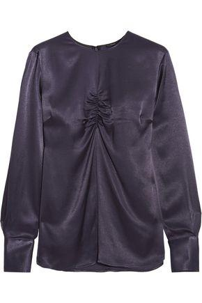 Joseph Woman Eugene Ruched Satin Top Dark Purple