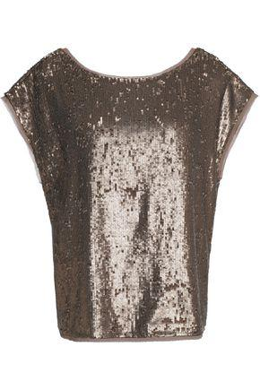 Joie Woman Marania Sequined Georgette Top Gold
