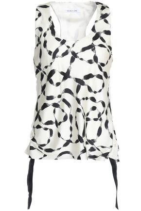 Helmut Lang Woman Ruched Side-tie Printed Silk Satin-twill Top Ivory