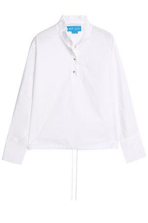 M.i.h Jeans Draw Ruffle-trimmed Cotton-poplin Shirt In White