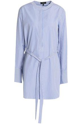 Theory Woman Tie-front Striped Cotton-poplin Tunic Blue