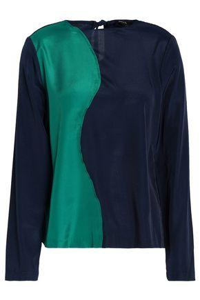 Raoul Woman Two-tone Satin Blouse Emerald