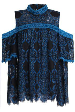 Anna Sui Woman Off-the-shoulder Scalloped Lace Top Black