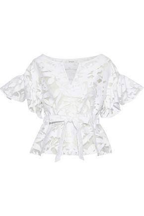 Milly Woman Bow-detailed Ruffled Fil CoupÉ Cotton-blend Top White