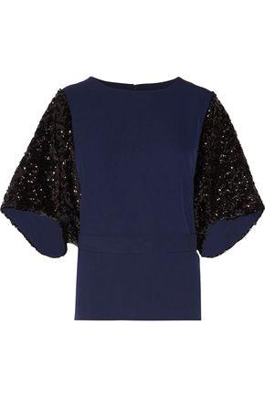 By Malene Birger Woman Glam Sequin-paneled Cady Top Midnight Blue