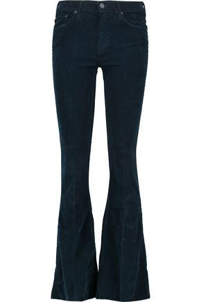 Mother Woman The Weekender Cotton-blend Corduroy Flared Pants Midnight Blue