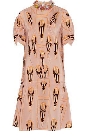 Miu Miu Embellished Printed Silk-chiffon Dress In Blush