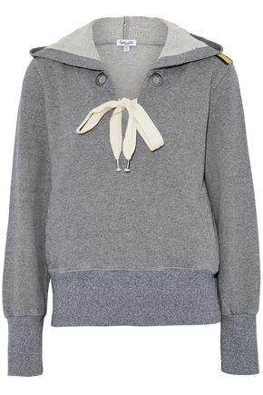 Splendid Woman Lace-up Cotton-blend Terry Hooded Sweatshirt Gray