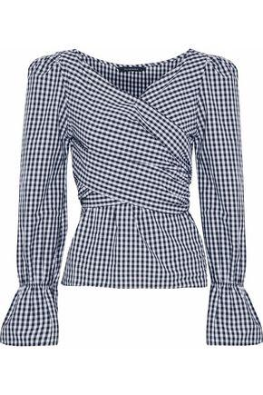 W118 By Walter Baker Woman Ruffled Gingham Cotton-poplin Wrap Top Navy