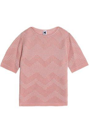 M Missoni Woman Metallic Broderie Anglais And Crochet Knit-paneled Top Pink