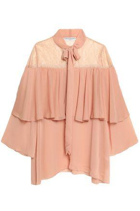 Perseverance Woman Cape-effect Pussy-bow Lace And Crepon Blouse Peach