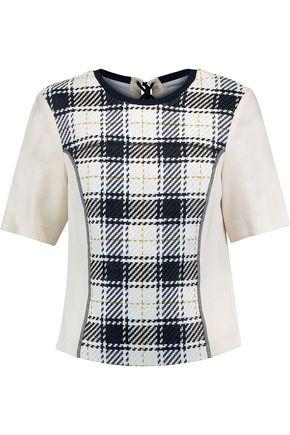 3.1 Phillip Lim Woman Paneled Checked Woven And Twill Top White
